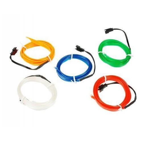 LED kabel 1m Ambient Light EL Wire s inventerem 12V, BÍLÝ