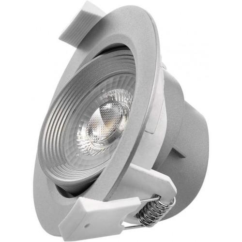 LED bodové svítidlo stříbrné, kruh 5W teplá bílá