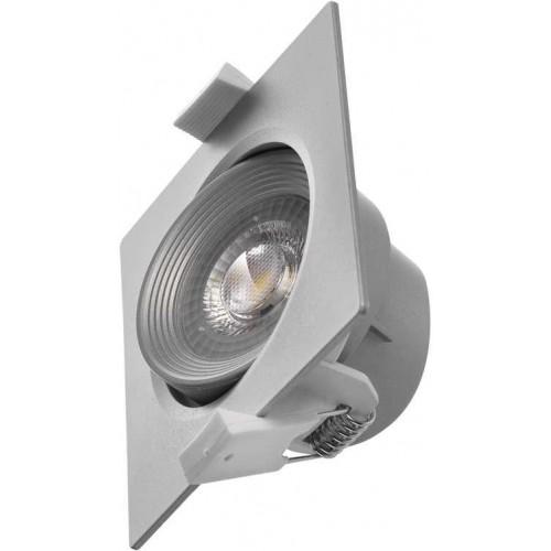 LED bodové svítidlo stříbrné, čtverec 5W teplá bílá