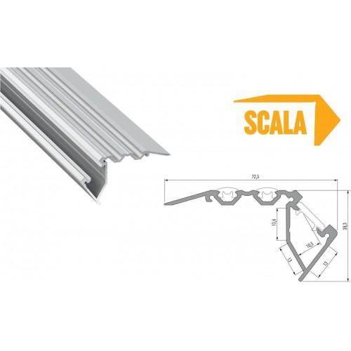 Hliníkový profil schodišťový LUMINES SCALA 1m pro LED pásky, eloxovaný stříbrný