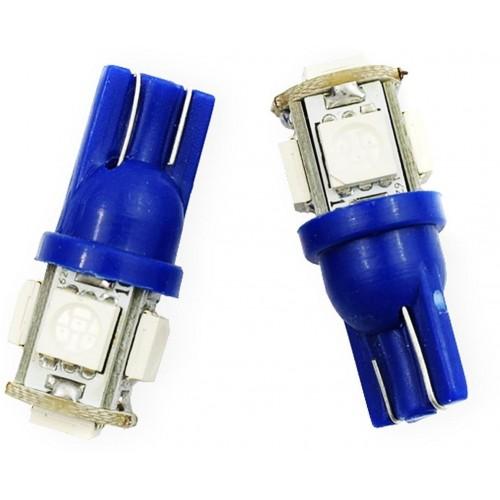 LED auto žárovka LED T10 W5W 5 SMD 5050 modrá