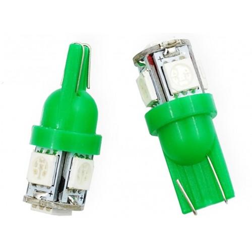LED auto žárovka LED T10 W5W 5 SMD 5050 zelená
