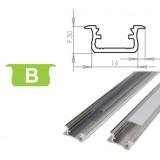 Hliníkový profil LUMINES B zápustný 2m pro LED pásky, hliník