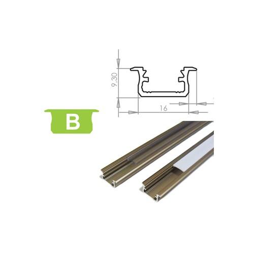Hliníkový profil LUMINES B zápustný 2m pro LED pásky, inox