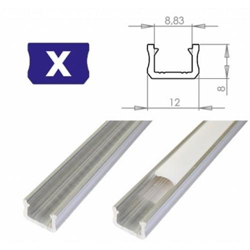 Hliníkový profil LUMINES X 2m pro LED pásky, hliník