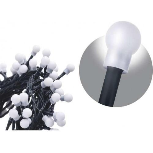 100 LED řetěz – kuličky, 5m, IP20, studená bílá