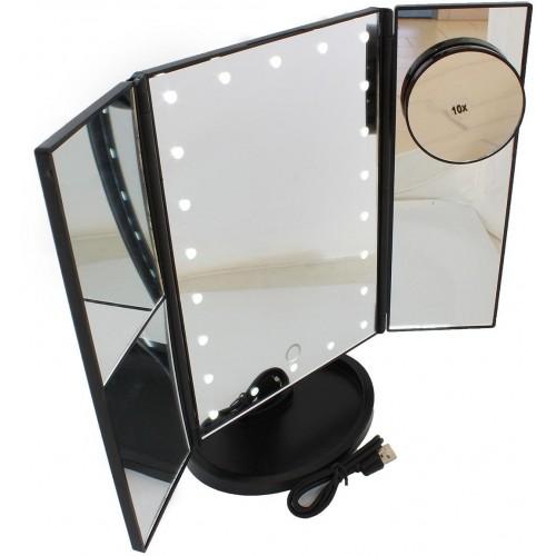 AG628C Kosmetické zrcátko skládací s LED osvětlením, černé
