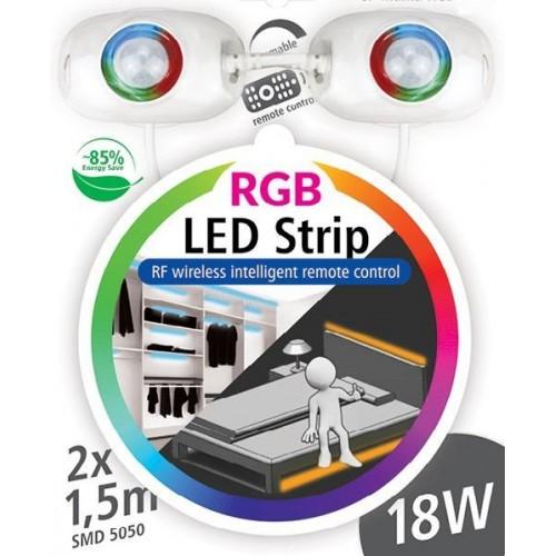 RGB LED nábytkové ( pod postel ) STMÍVATELNÉ osvětlení s pohybovým senzorem 2x1,5m 18W