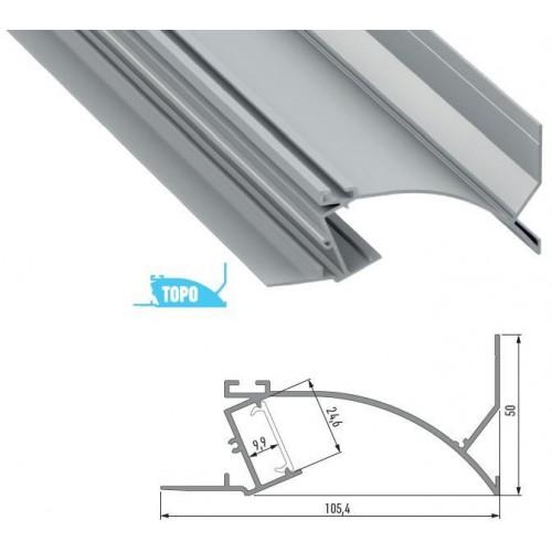 Hliníkový profil TOPO 1m pro LED pásky, eloxovaný stříbrný