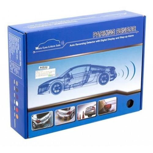 Parkovací systém 4 senzorový - zvuková signalizace i LED panel,  Ø25mm, stříbrný