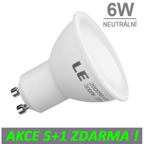 LED žárovka 6W GU10 475lm NEUTRÁLNÍ, 5+1 ZDARMA