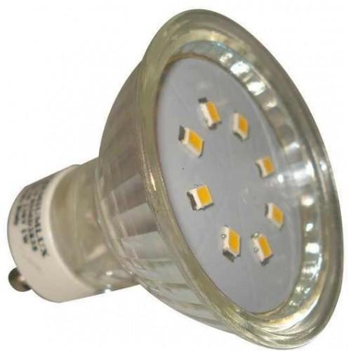 LED žárovka 1W 8xSMD2835 GU10 90lm TEPLÁ BÍLÁ