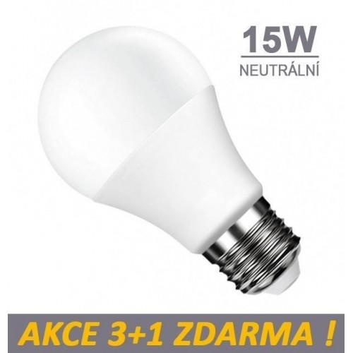 LED žárovka 15W 15xSMD2835 1200lm E27 NEUTRÁLNÍ, 3+1 Zdarma