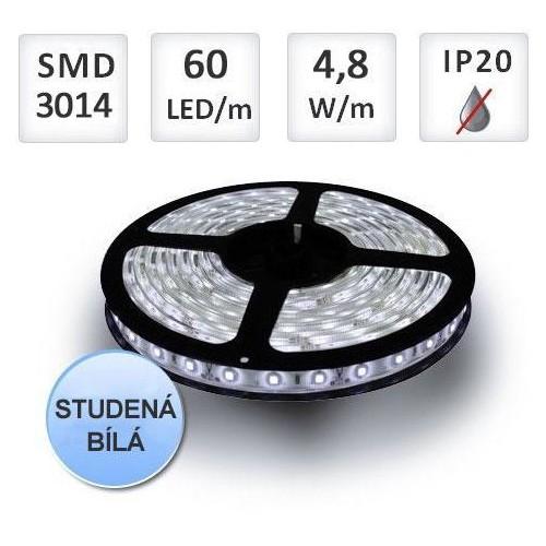 LED pásek 5m 60ks/m 3014 4.8W/m studená bílá