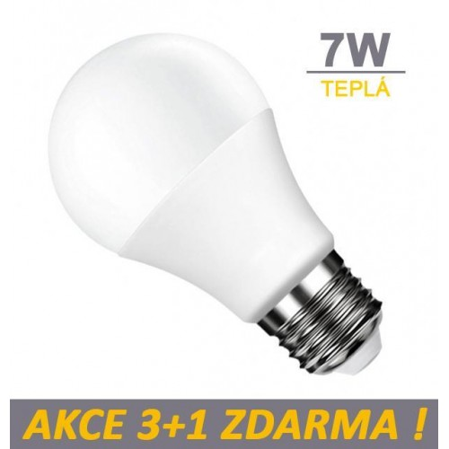 LED žárovka 7W 450lm E27 TEPLÁ, 3+1 ZDARMA